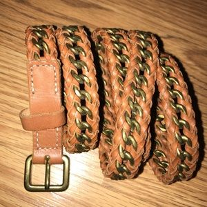 J crew chain leather cognac belt S M L